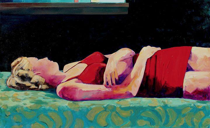 "T.S. Harris, ""Sleeping Beauty"", 30""x48"", oil on canvas"