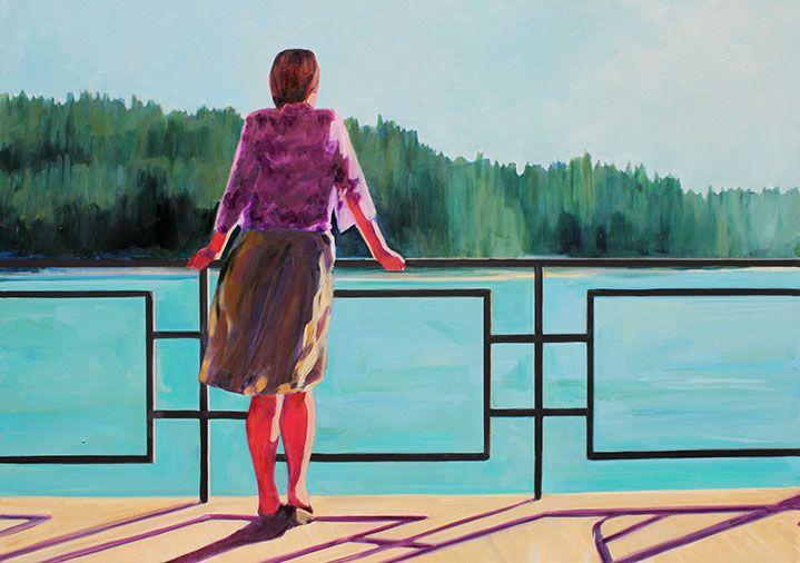 """T.S. Harris, """"Mountain Lake"""", 30""""x40"""", oil on canvas"""