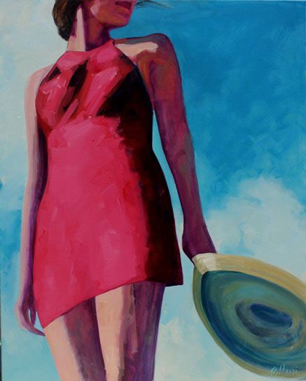 """T.S. Harris, """"Straw Hat Blowing"""", 60""""x48"""", oil on canvas"""