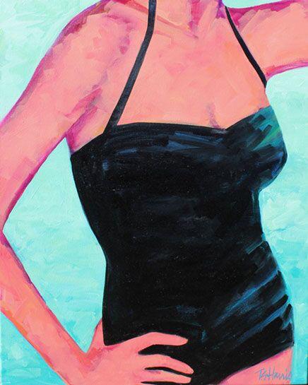 "T.S. Harris, ""Black Swimsuit"", 30""x24"", oil on canvas"