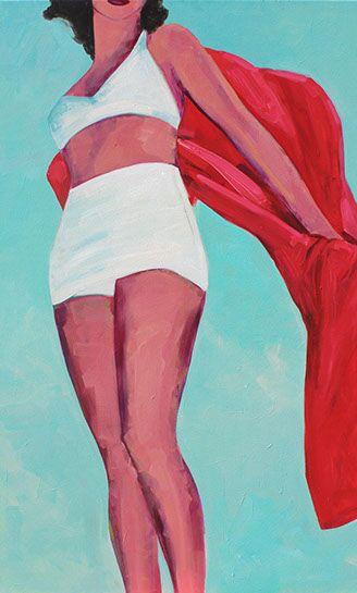 "T.S. Harris, ""Beach Towel Blowing"", 48""x30"", oil on canvas"