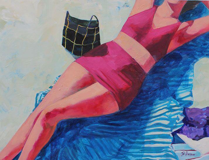 "T.S. Harris, ""Beach Figure"", 30""x40"", oil on canvas"