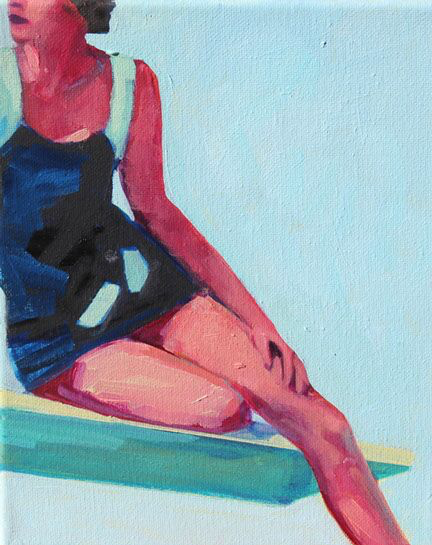 """T.S. Harris, """"On the Diving Board"""", 10""""x8"""", oil on canvas"""