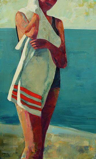 "T.S. Harris, ""Striped Beach Towel"", 48""x60"", oil on canvas"