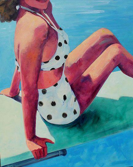 "T.S. Harris, ""Polka Dot Swimsuit"", 60""x48"", oil on canvas"