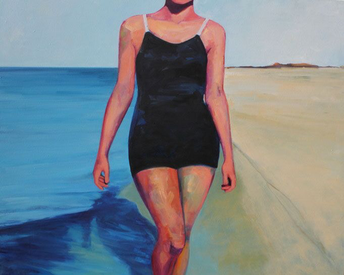 """T.S. Harris, """"Walking on the Shore"""", 48""""x60"""", oil on canvas"""
