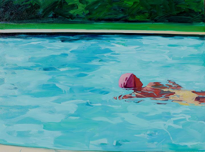 """T.S. Harris, """"Swimming Laps"""", 36""""x48"""", oil on canvas"""
