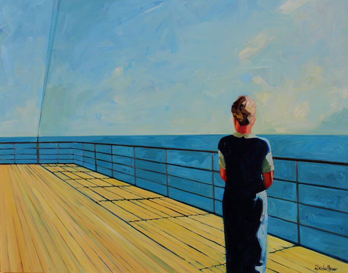 """T.S. Harris, """"Looking Out to Sea"""", 48""""x60"""", oil on canvas"""