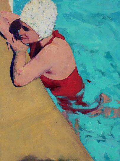 "T.S. Harris, ""Poolside"", 36""x48"", oil on canvas"