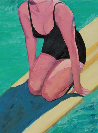 """T.S. Harris, """"Surfboard Beauty"""", 40""""x30"""", oil on canvas"""