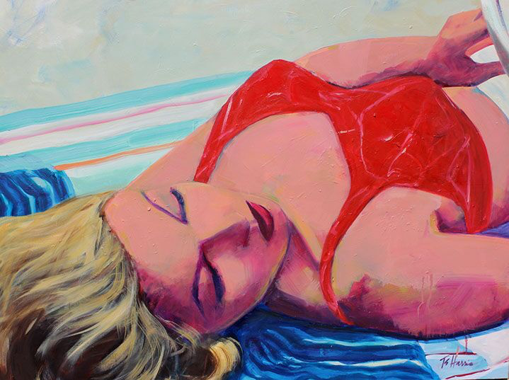 """T.S. Harris, """"Reading at the Beach"""", 30""""x40"""", oil on canvas"""