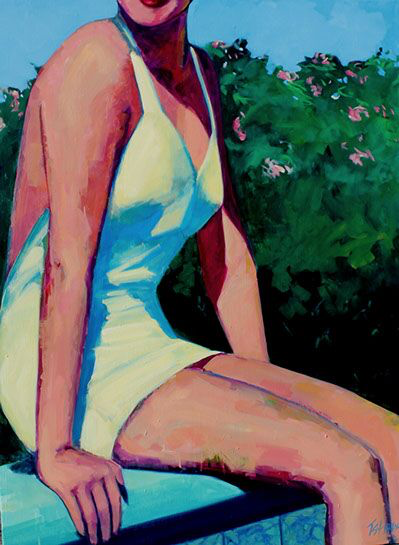 """T.S. Harris, """"Swimmer by the Pool"""", 48""""x36"""", oil on canvas"""