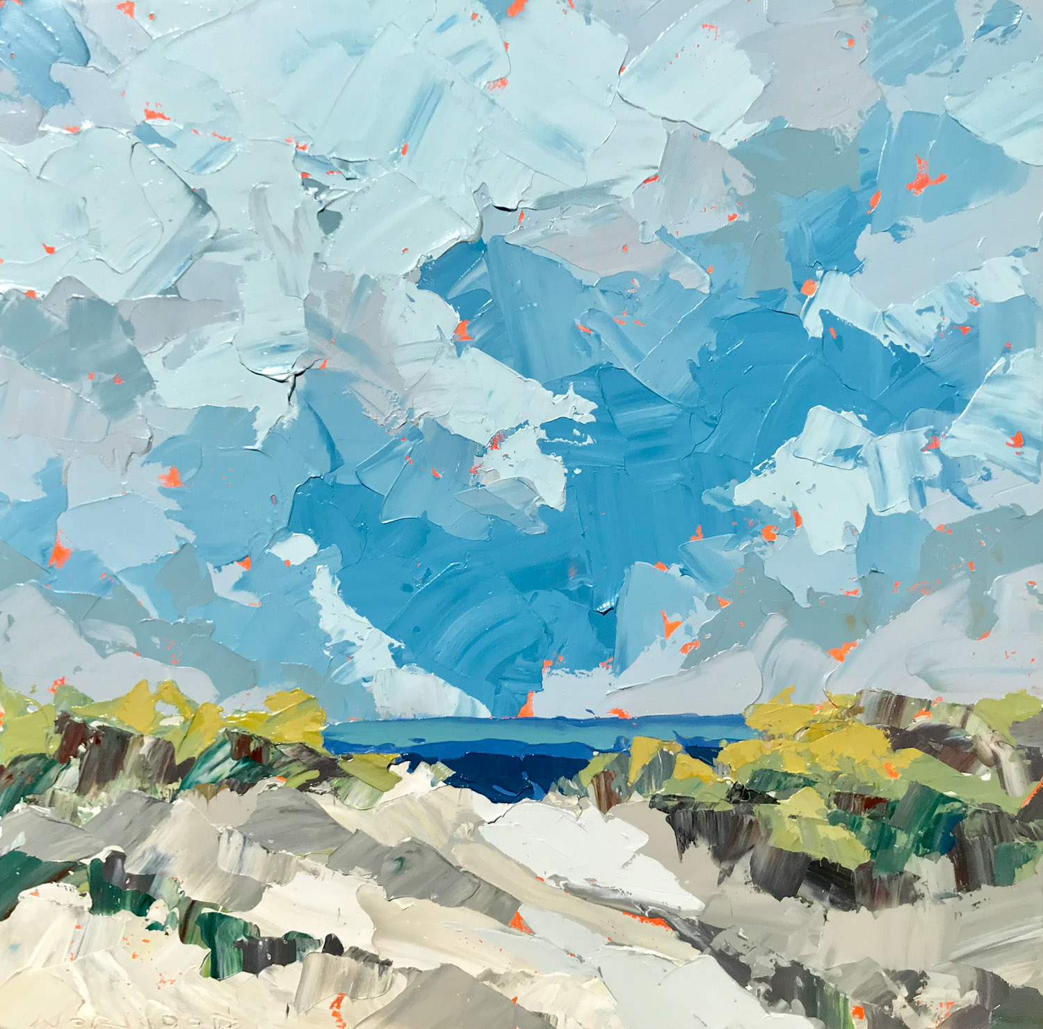 """Paul Norwood, """"August Clouds"""", 48""""x48"""", oil on canvas"""
