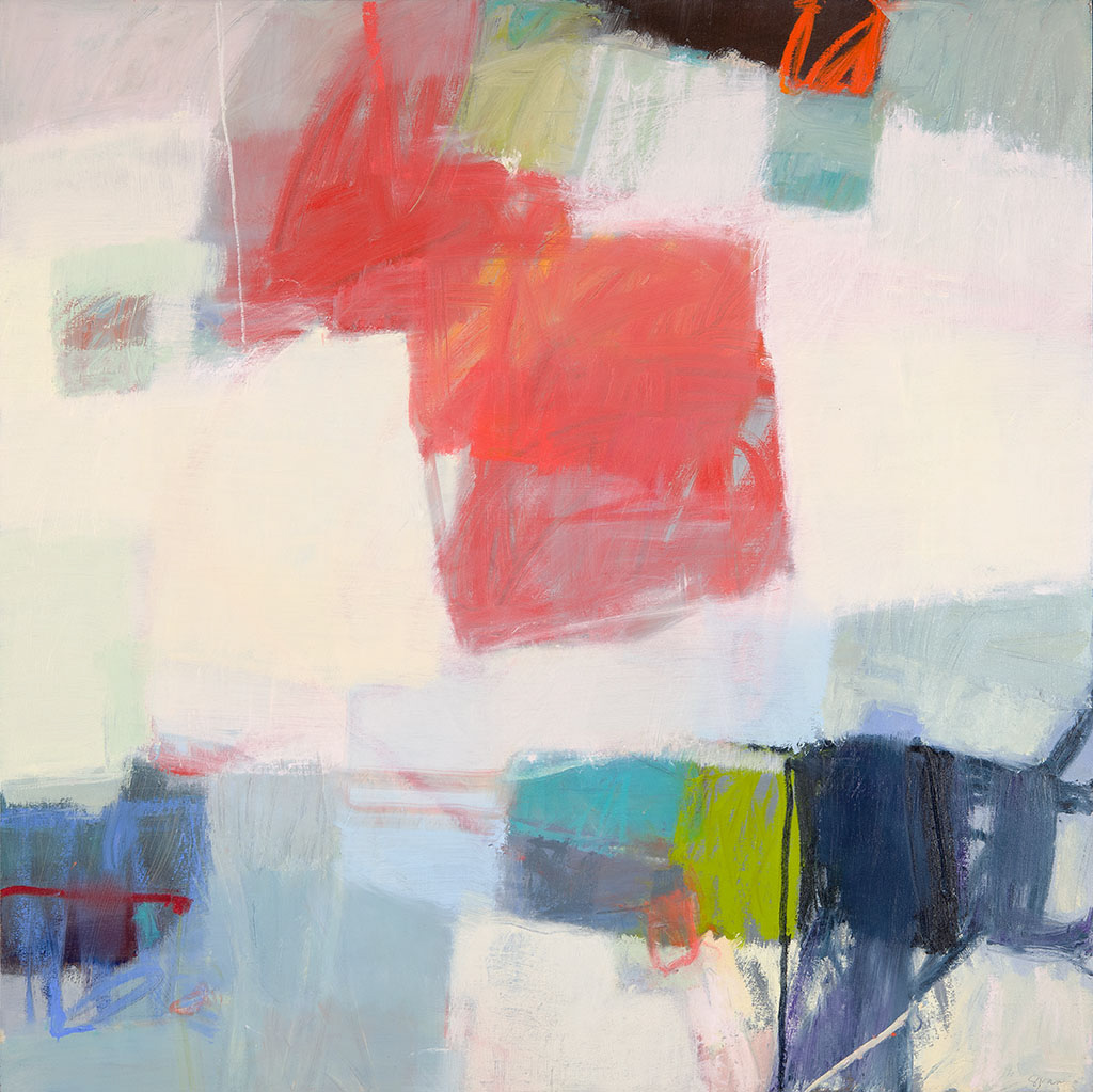 "Sharon Paster, ""Spin 2"", 48""x48"", mixed media on canvas"