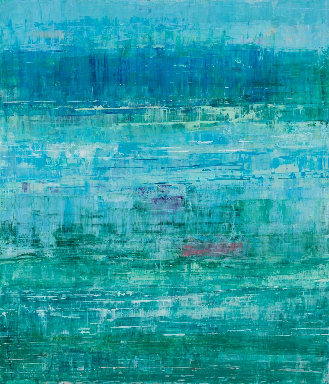 "Suzy Barnard, ""When Blue Meets Green"", 44""x38"", oil on panel"