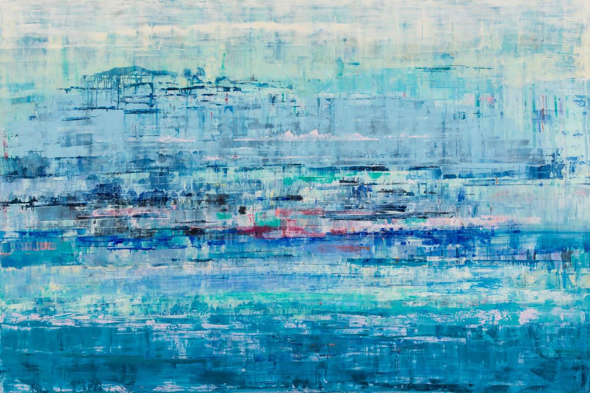 "Suzy Barnard, ""Blue Chiffon"", 48""x72"", oil on panel"