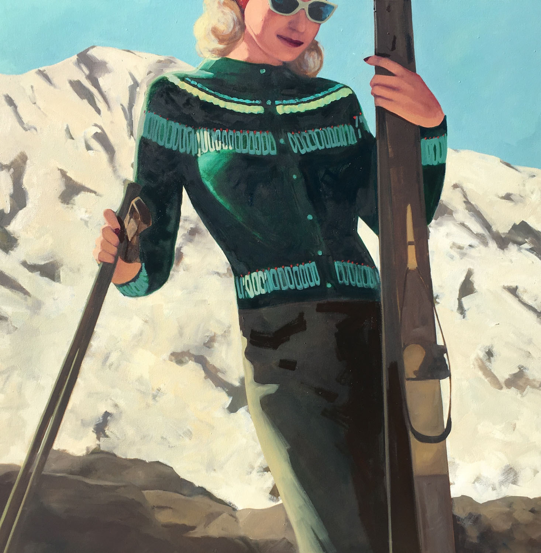 "T.S. Harris, ""Apres Ski"", 48""x48"", oil on canvas"