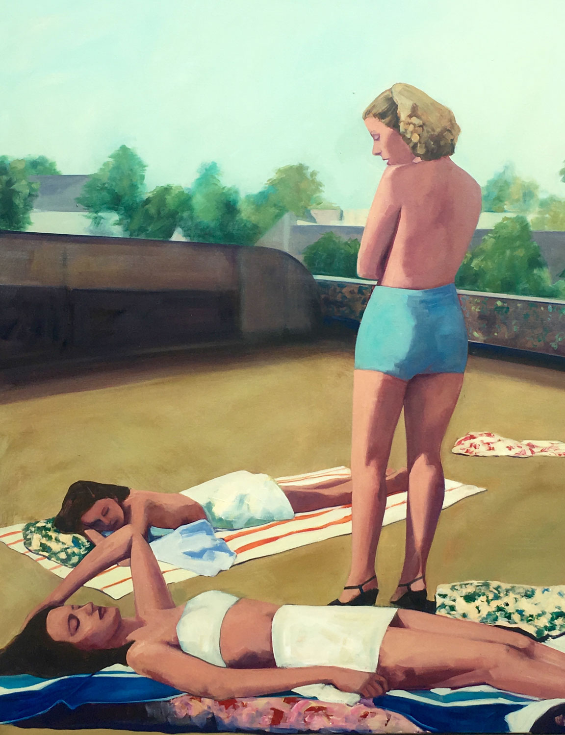 """T.S. Harris, """"Rooftop Starlets"""", 60""""x48"""", oil on canvas"""