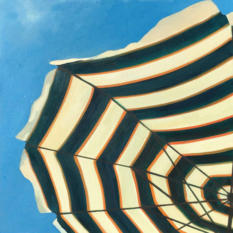 "T.S. Harris, ""Umbrella in the Breeze"", 20""x20"", oil on canvas"