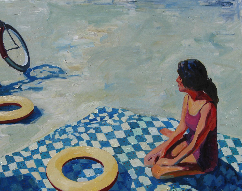 "T.S. Harris, ""Girl at the Beach"", 48""x60"", oil on canvas"