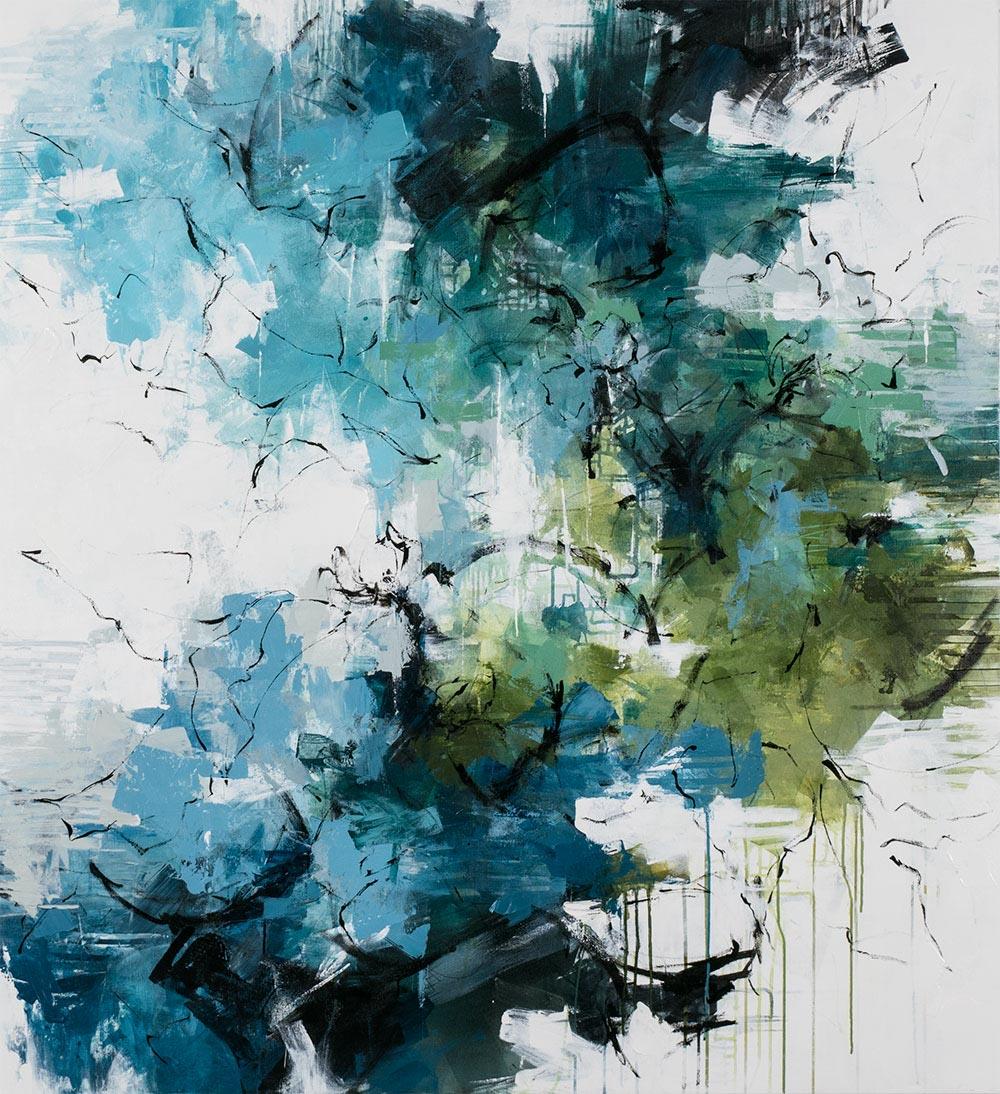 "Carlos Ramirez, ""A Summer Shower"", 60""x55"", mixed media on canvas"