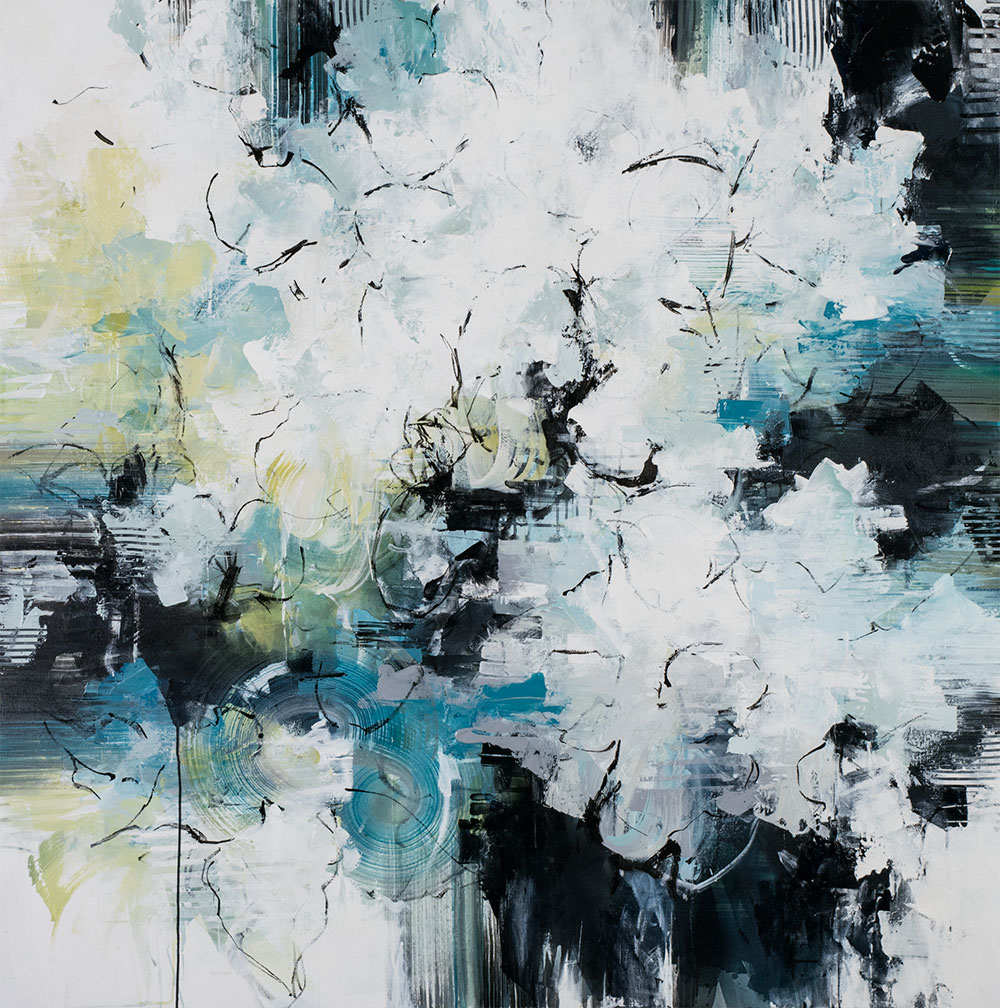 "Carlos Ramirez, ""Stepping Stones Across the Creek"", 60""x60"", mixed media on canvas"