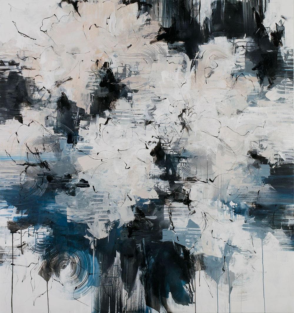 "Carlos Ramirez, ""Path to the Lake Shore"", 68""x64"", mixed media on canvas"