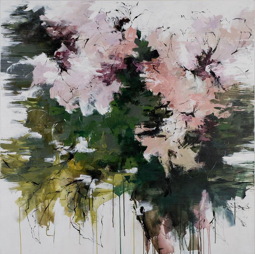 "Carlos Ramirez, ""The Cottage Garden"", 54""x54"", mixed media on canvas"