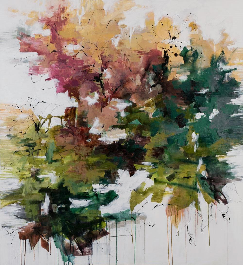 "Carlos Ramirez, ""Beyond the Garden"", 65""x60"", mixed media on canvas"