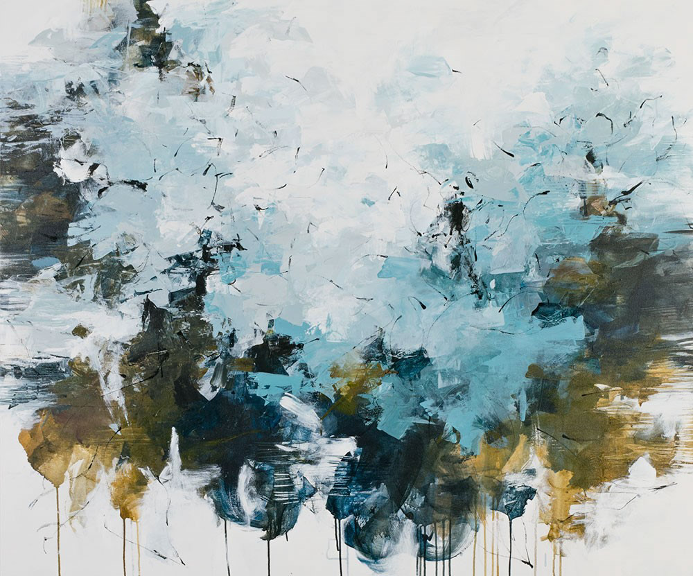 "Carlos Ramirez, ""A Morning Fog Over the Lake"", 50""x60"", mixed media on canvas"