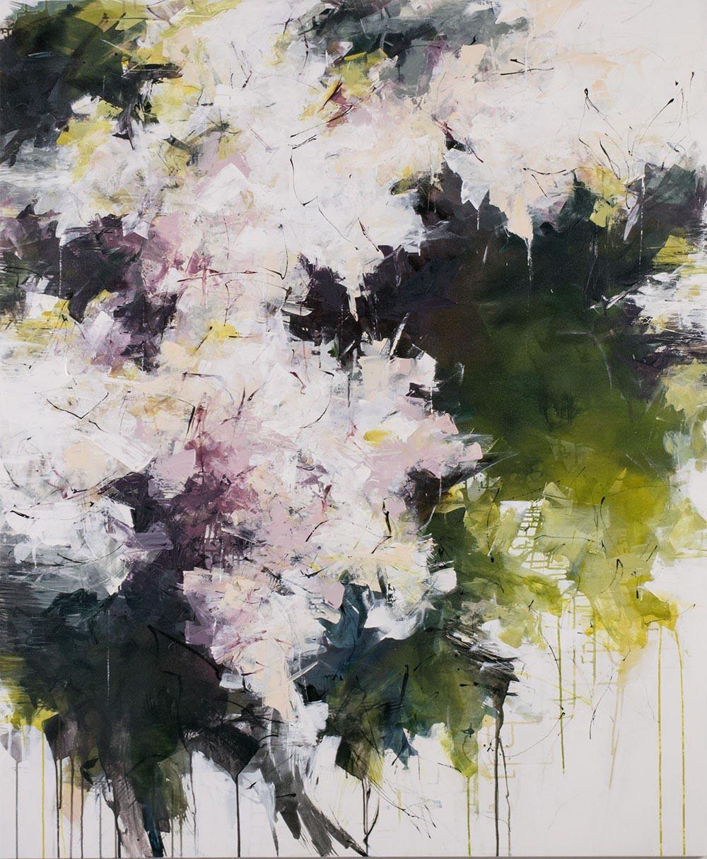 "Carlos Ramirez, ""A Walk in Riverside Park NYC"", 72""x60"", mixed media on canvas"