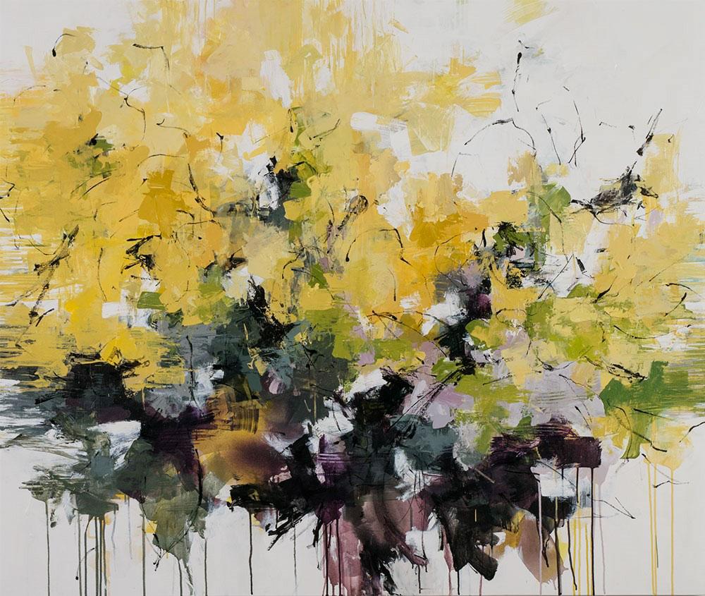 "Carlos Ramirez, ""Sunflowers Along the Fence"", 50""x60"", mixed media on canvas"