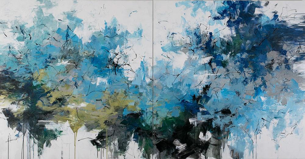 "Carlos Ramirez, ""The Lagoon"", 60""x96"", mixed media on canvas"