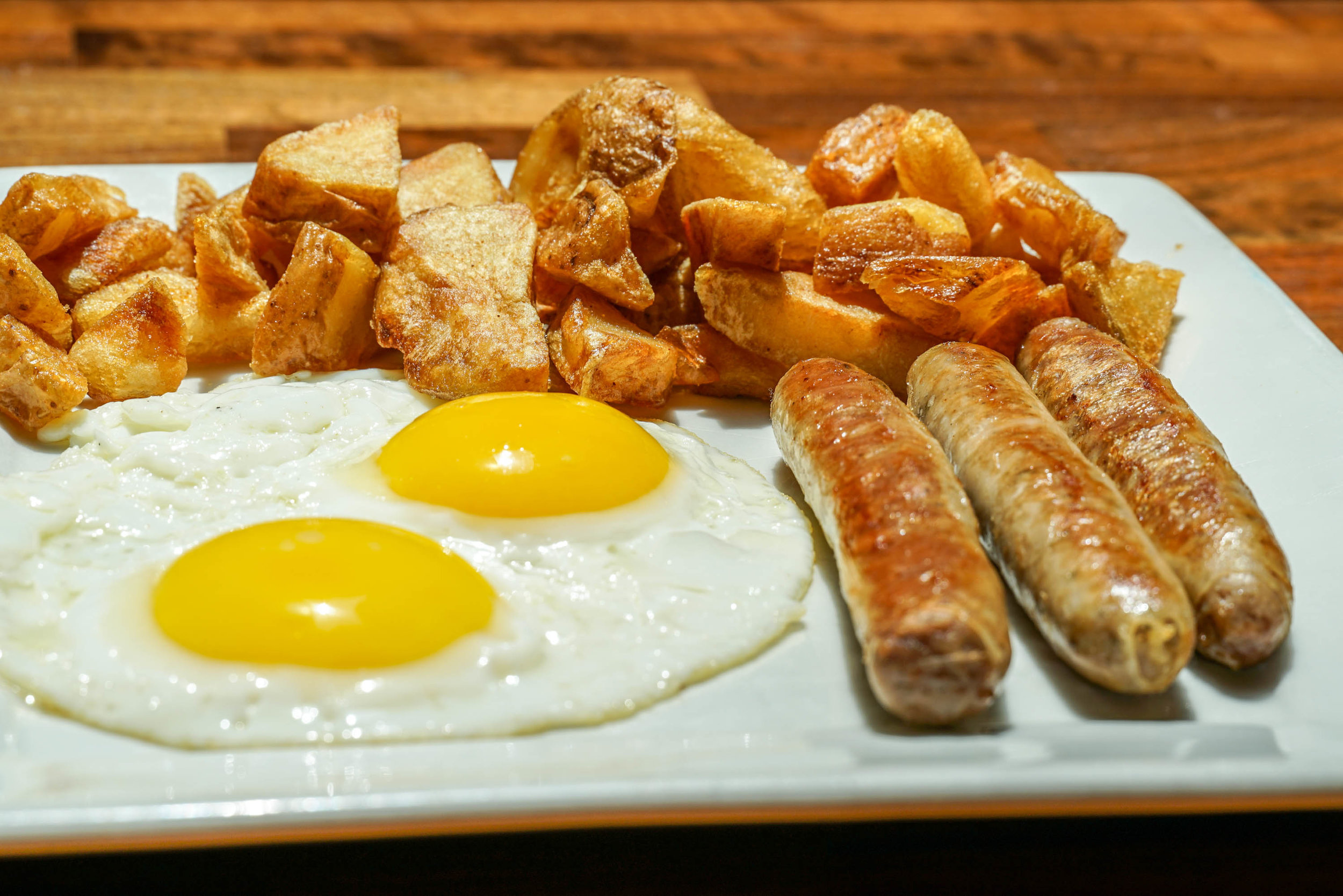 sunny side eggs, organic turkey sausage and Oregon red potatoes