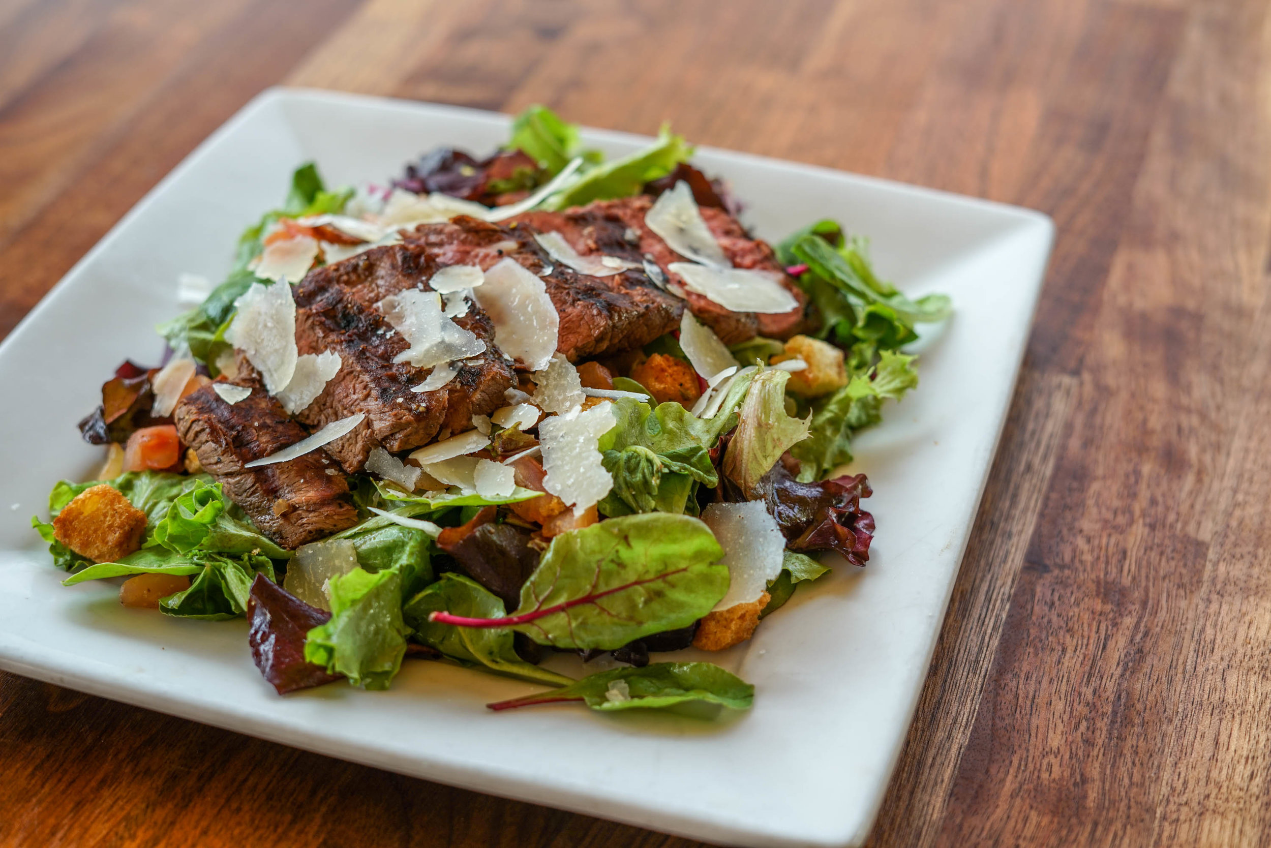 flatiron steak mixed-green salad