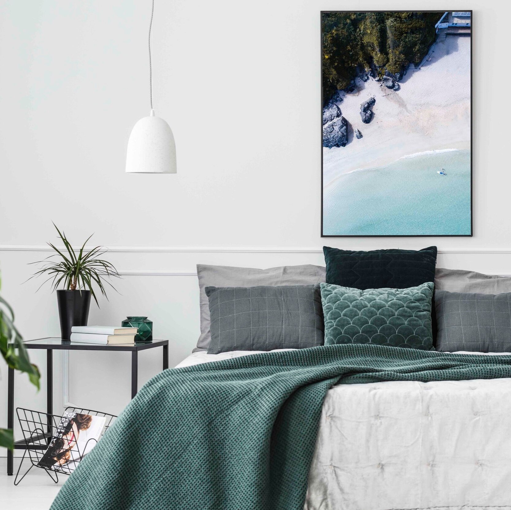 RELAX - The bedroom is a place of relaxation, comfort, somewhere to switch off. Add a clean, coastal print to a bedroom wall, after all nothing says relaxation like tropical blue waters and white sand beaches.