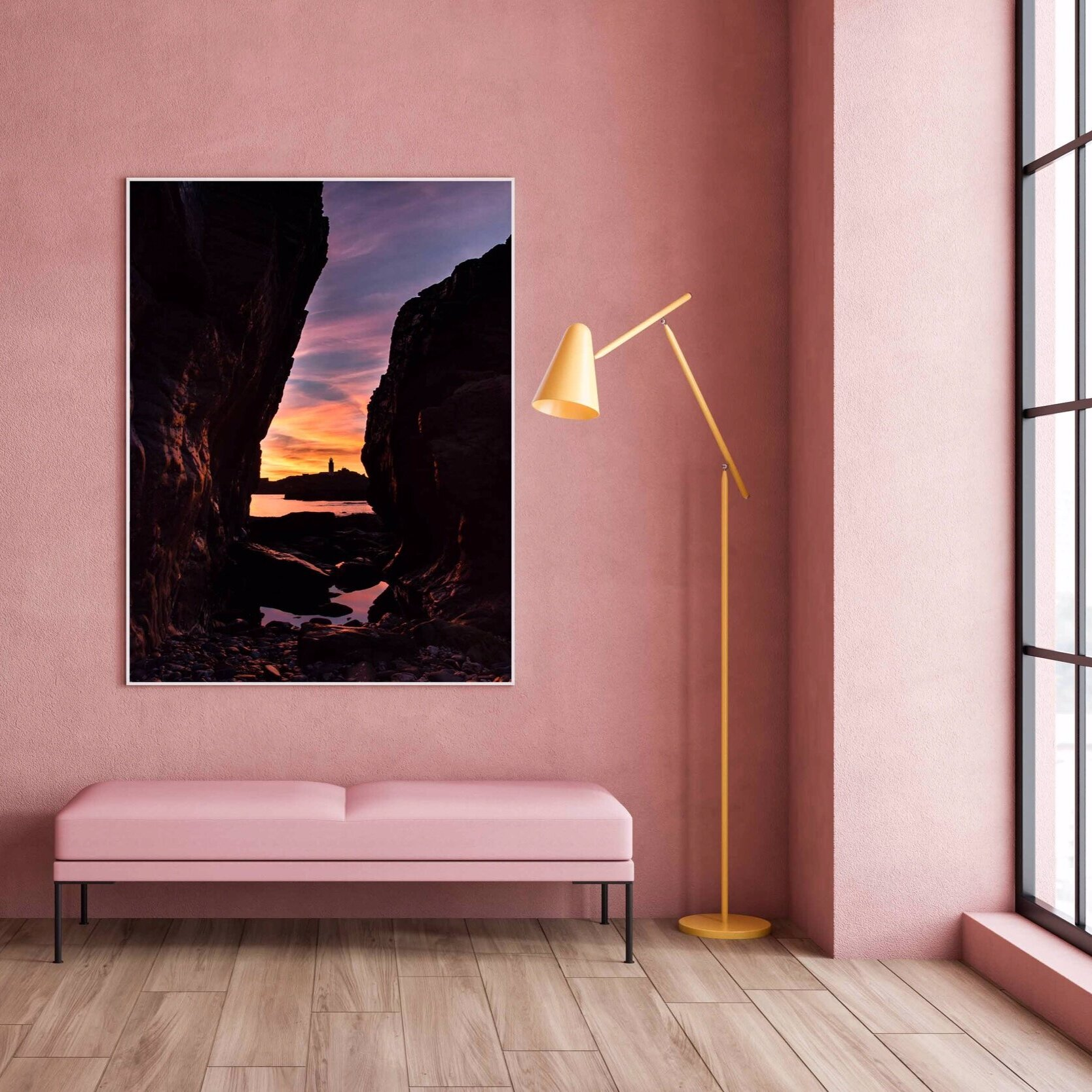 Sunset scenes - Dusty pink walls, the perfect way to add that sunset shot to your home! Colour is back in and adding a beautiful sunset to a wall can be the perfect way to introduce some brighter colours to your interiors.