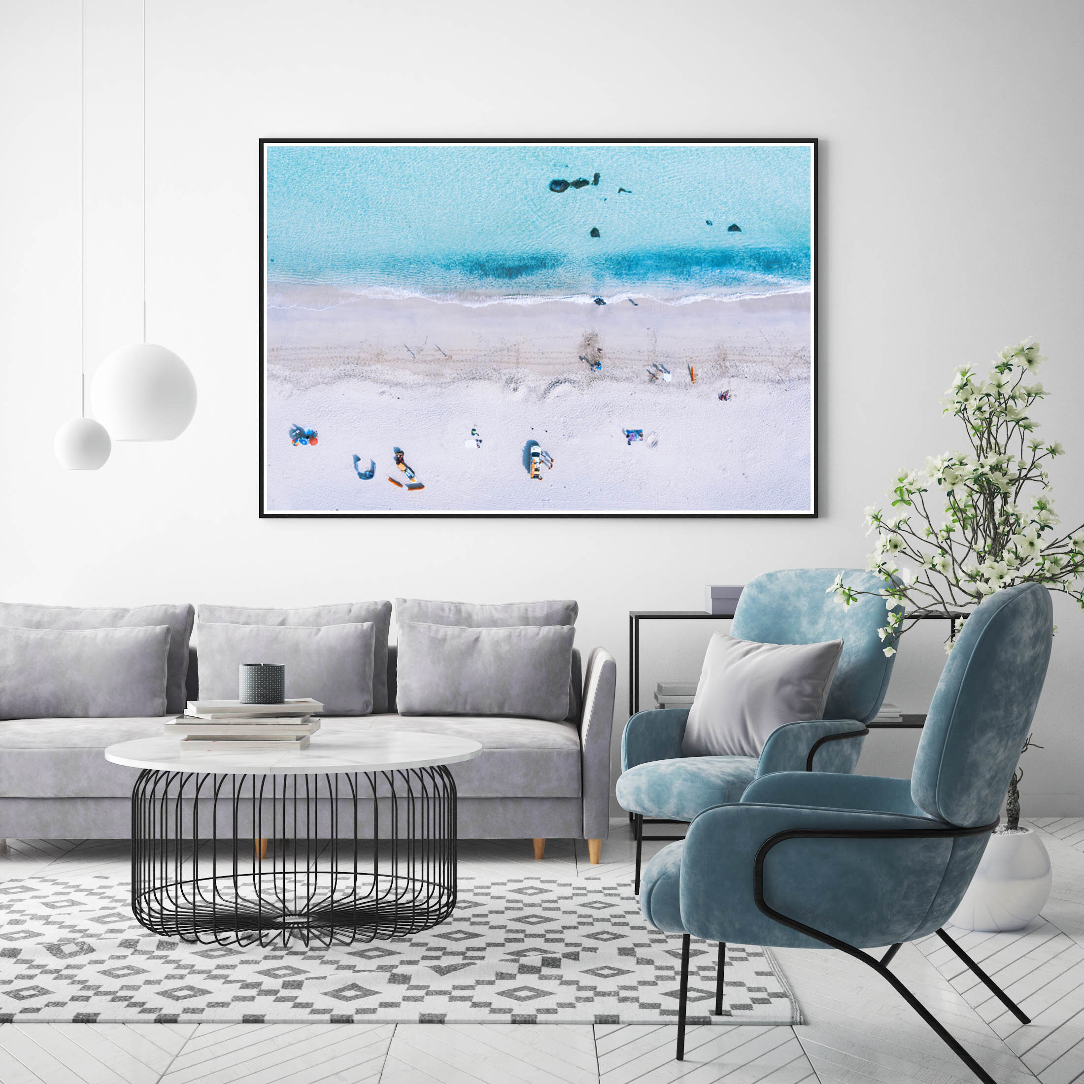 Coastal interiors - The perfect image to add to a coastal inspired interior? A coastal image. Tie your blue and white interiors together with a blue and white beach scene. After, all who get's tired of looking at a stunning Cornish beach.