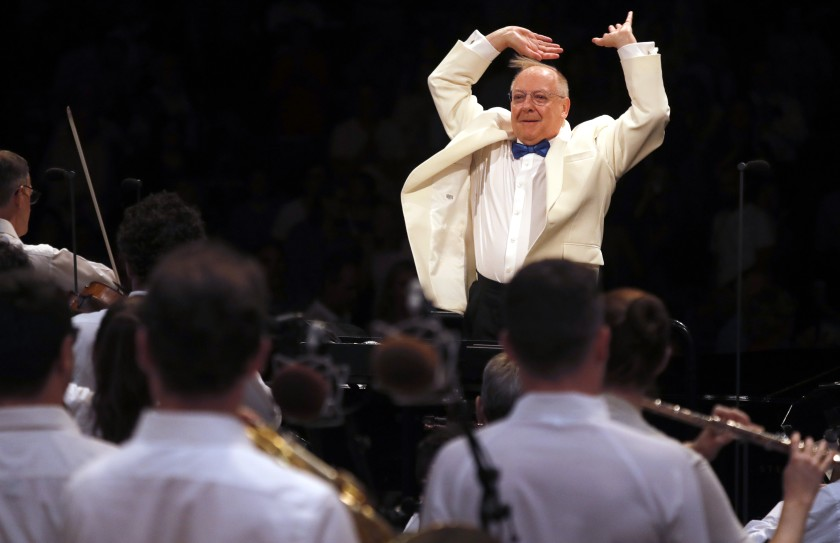 Nic McGegan conducts the LA Phil at the Hollywood Bowl. Photo credit: Luis Sinco / Los Angeles Times