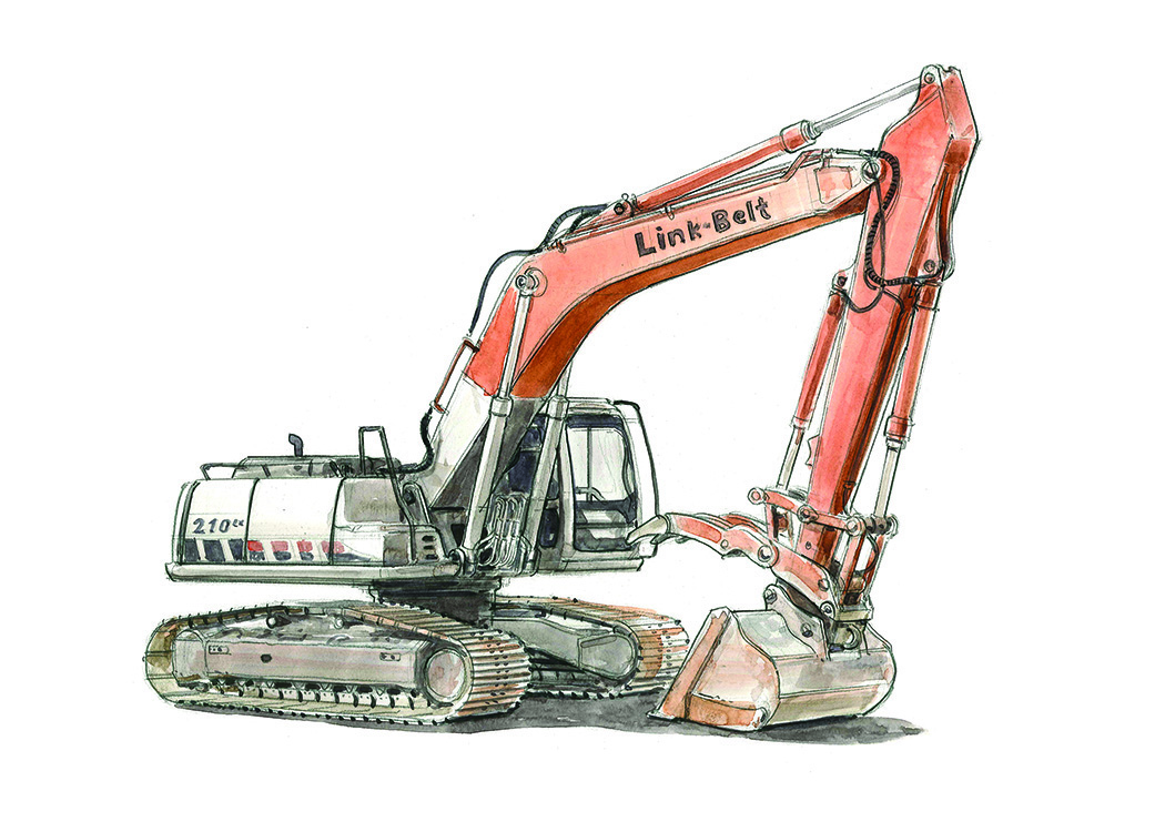 Red and Grey Excavator