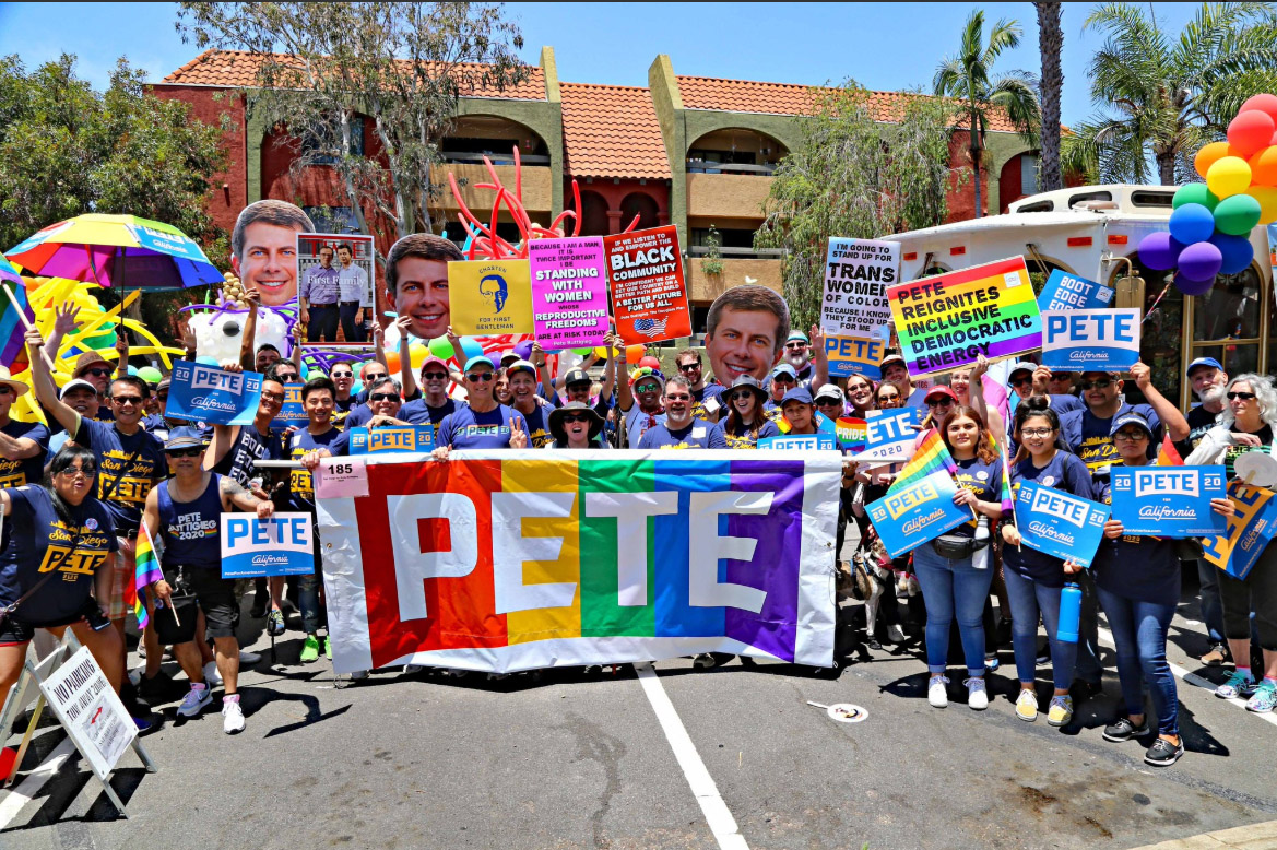The Pete group at the San Francisco Pride parade, Jun 2019