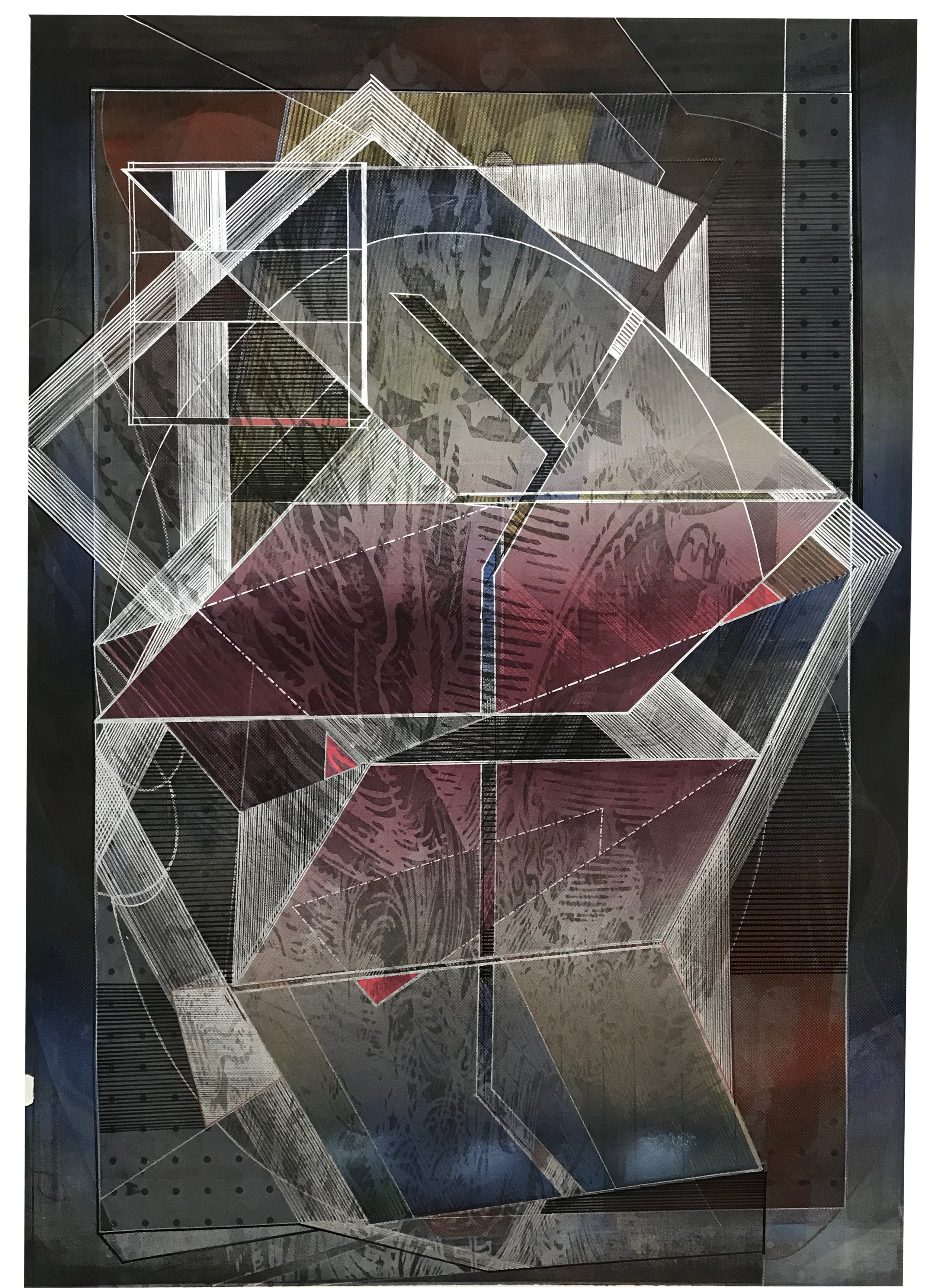 Inertia I by Miguel Rivera, 2019 mixed media on paper, 40x28 inches