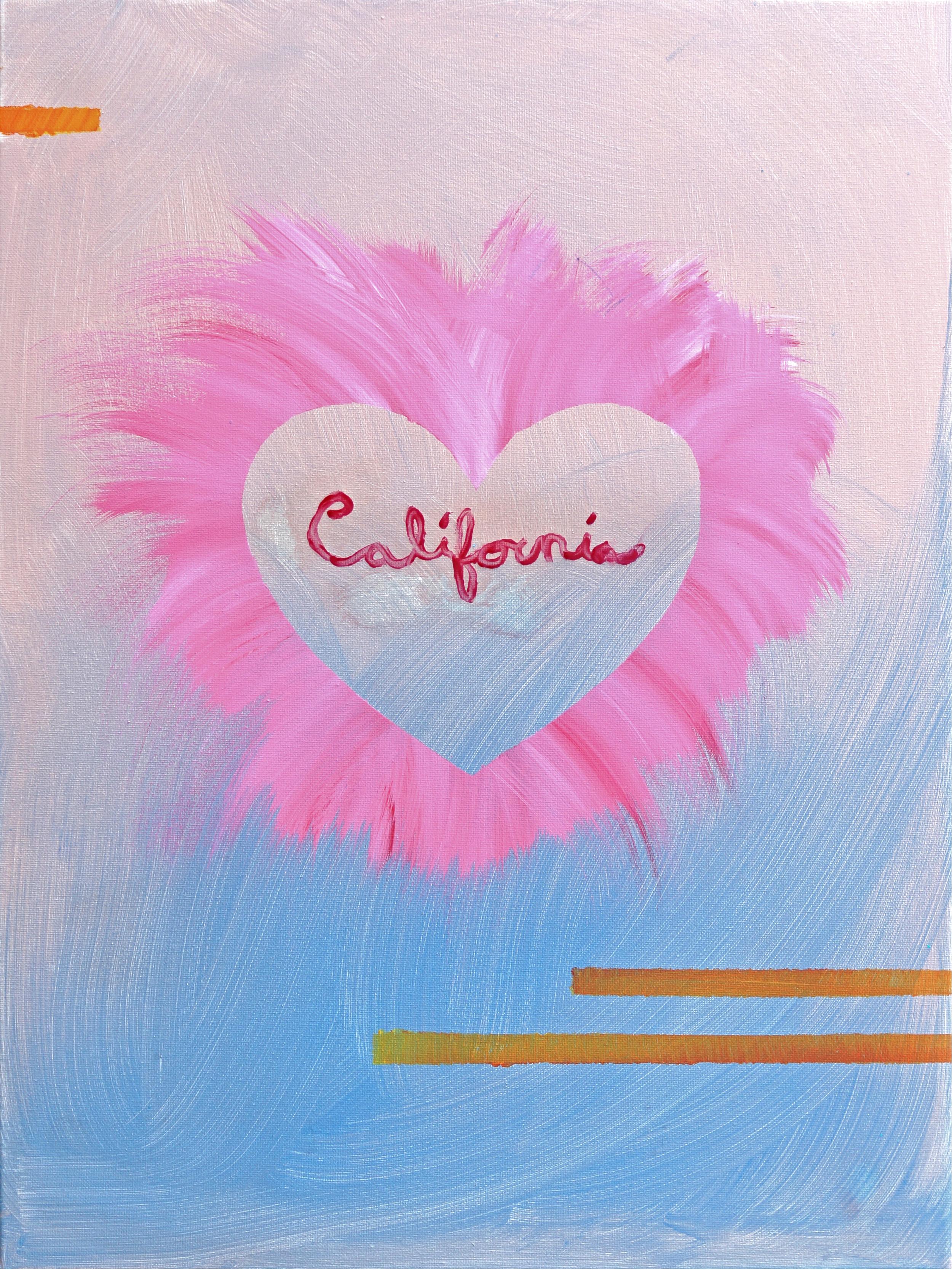 """CALI LOVE (2018)  24""""x36"""" acrylic, lip-gloss on canvas"""