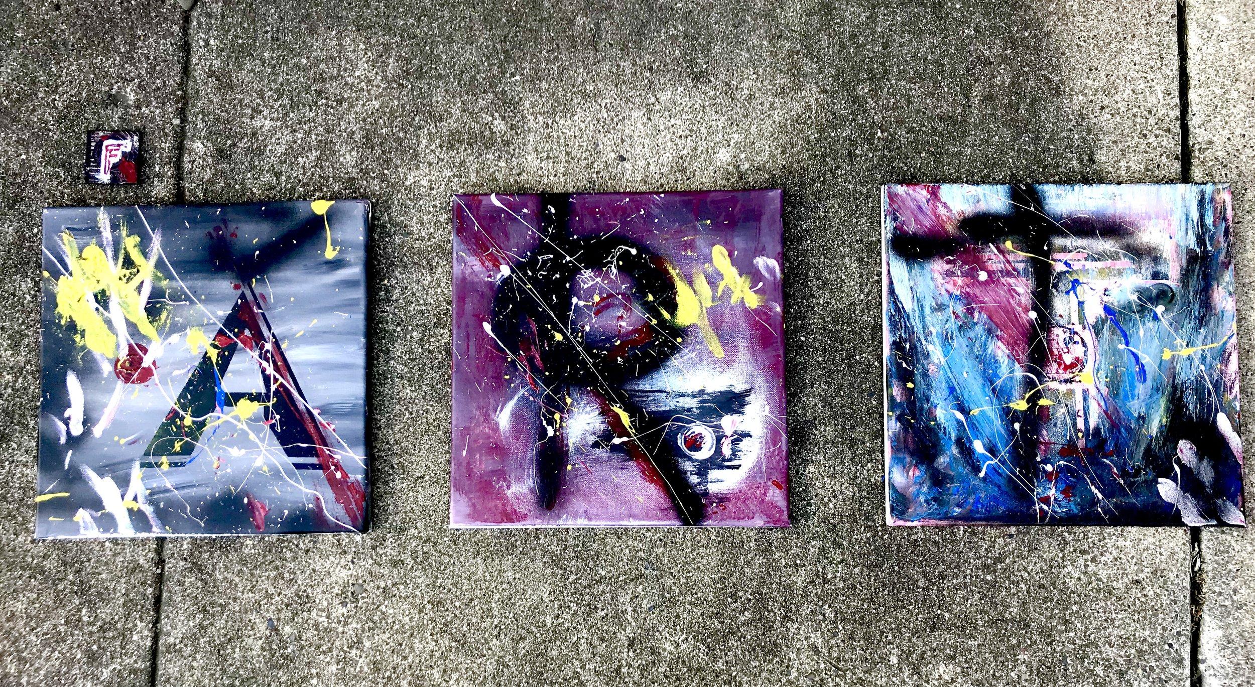 "fART (2018)  1"" and 12"" acrylic, spraypaint on canvas"