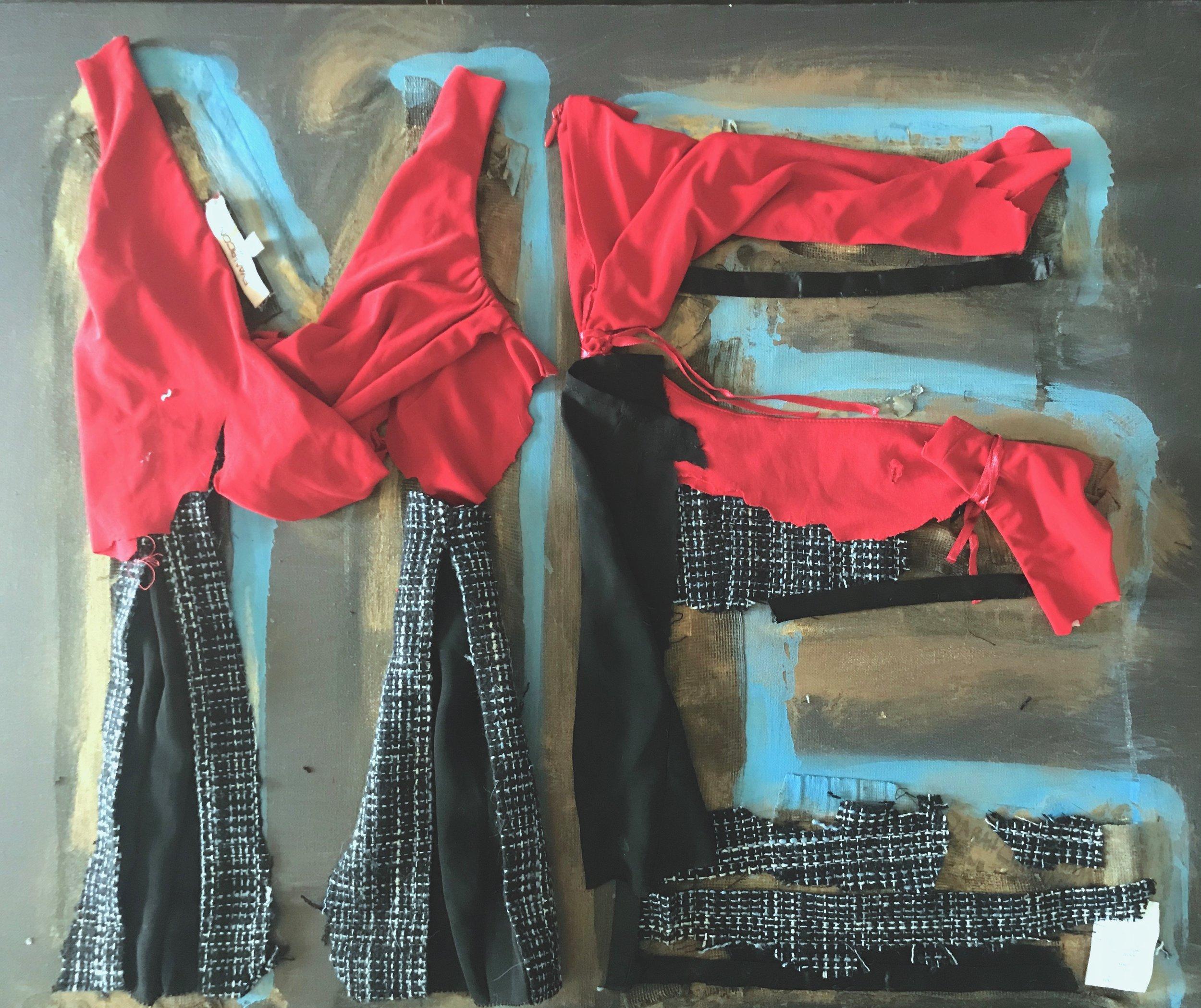 "NARCISSISM  2018 24"" x 36"" acrylic, gauze, cloth, eyeshadow, paper on canvas"