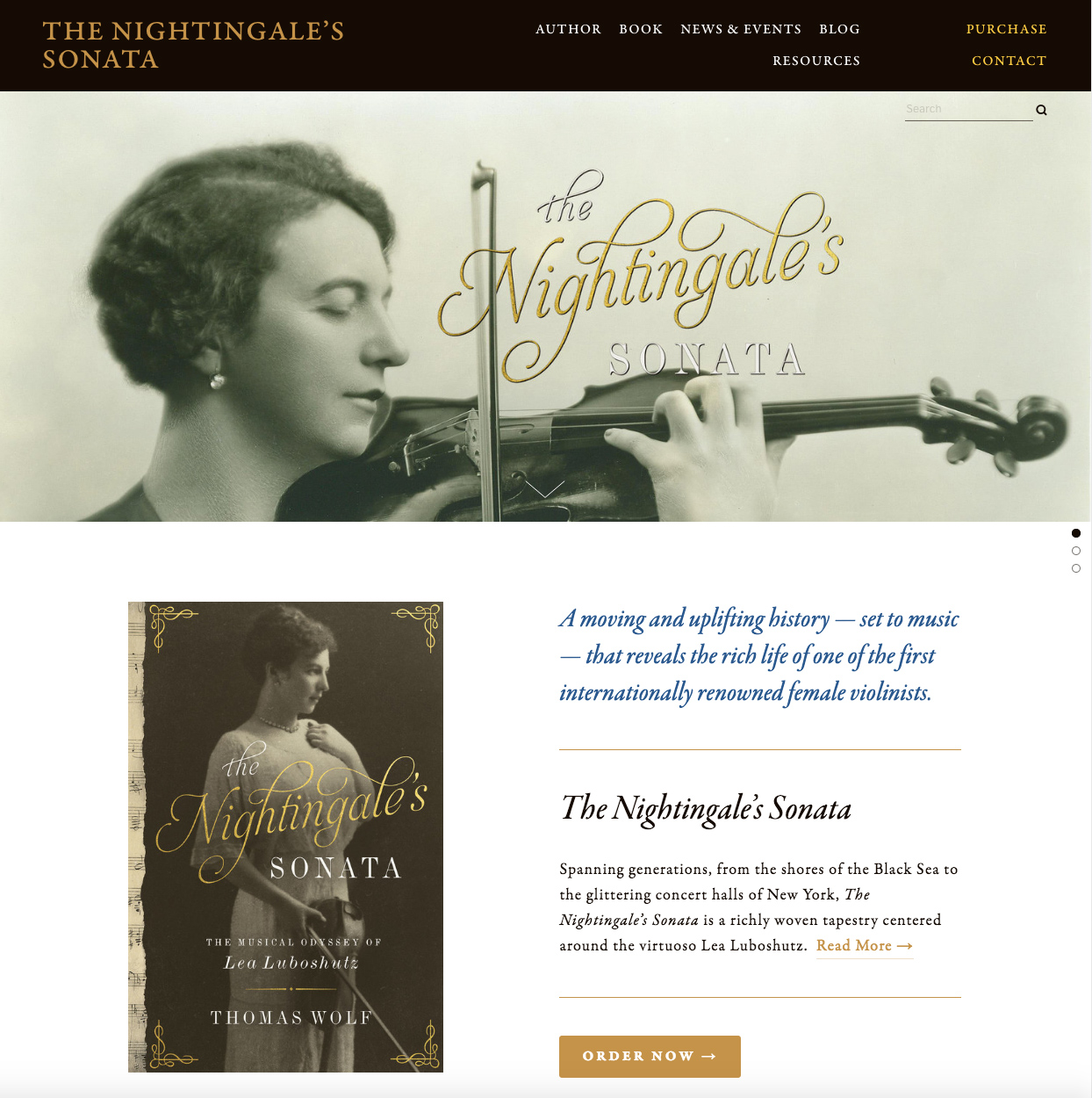 Website for The Nightingale's Sonata by Thomas Wolf