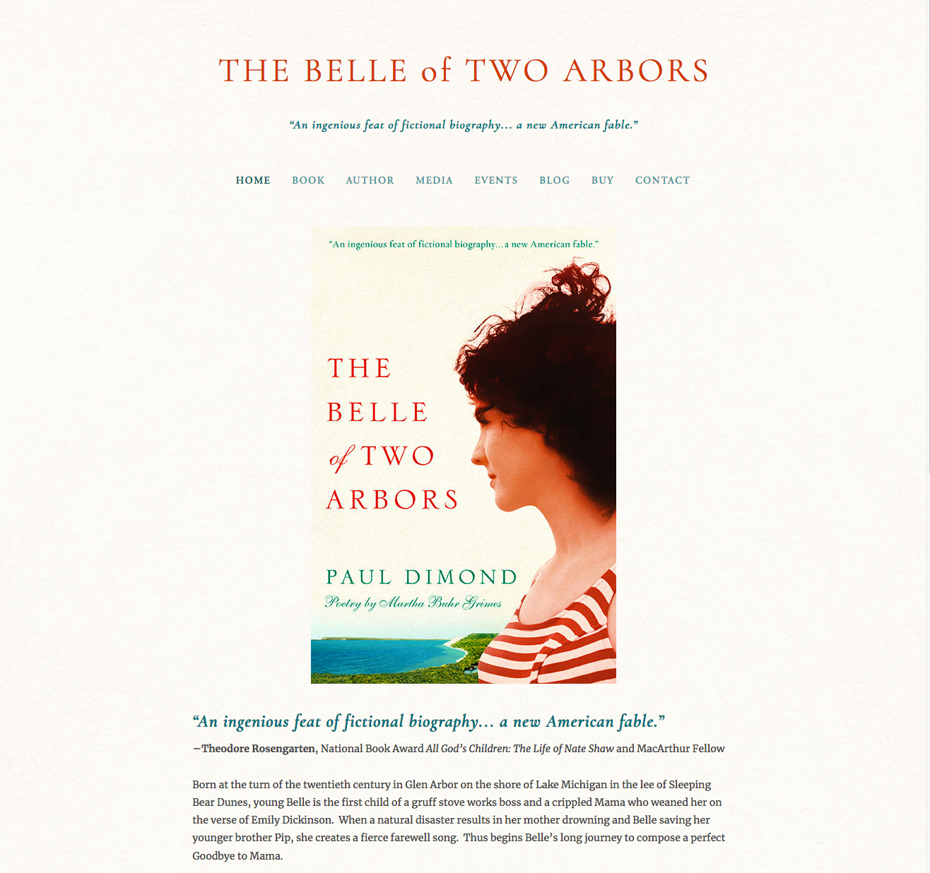 Website for The Belle of Two Arbors by Paul Dimond, poetry by Martha Buhr Grimes