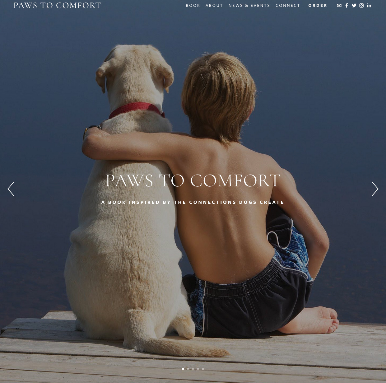 Advance website for Kickstarter campaign to fund publication of Paws to Comfort by Jenn Mar with Skye Quinn