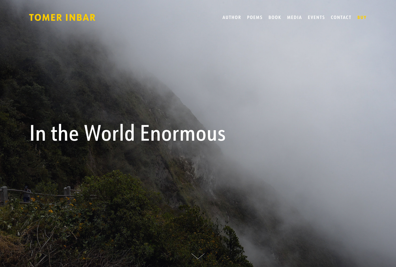 Website for the poetry collection In the World Enormous by Tomer Inbar.