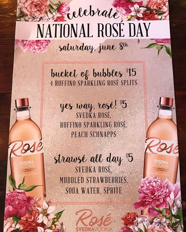 Tomorrow is #nationalroséday come celebrate with us, we have brunch until 2 🍾